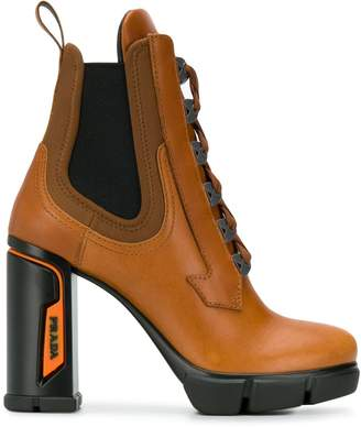 Prada heeled lace-up ankle boots