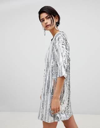 RAGYARD Ragyard Stripe Sequin T-Shirt Dress