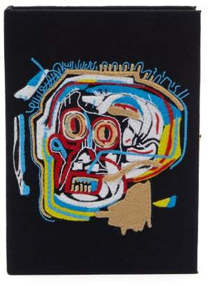 Olympia Le-Tan Olympia Le Tan Basquiat Skull Embroidered Book Clutch Bag - Womens - Black