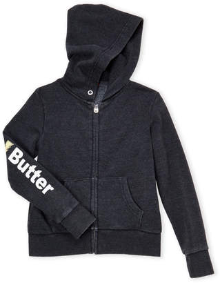 Butter Shoes Girls 7-16) Black Zip-Up Patch Hoodie
