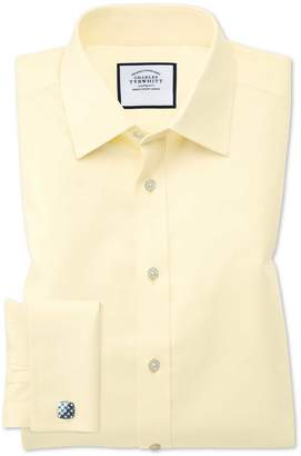 Charles Tyrwhitt Classic Fit Non-Iron Twill Yellow Cotton Dress Shirt French Cuff Size 16/33