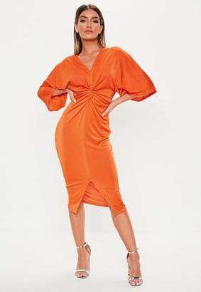 23e756bf443 Missguided Orange Kimono Sleeve Twist Slinky Midi Dress