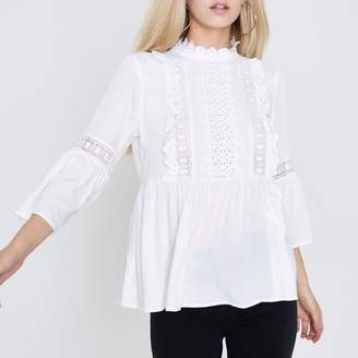River Island Womens Petite Cream lace frill bell sleeve blouse