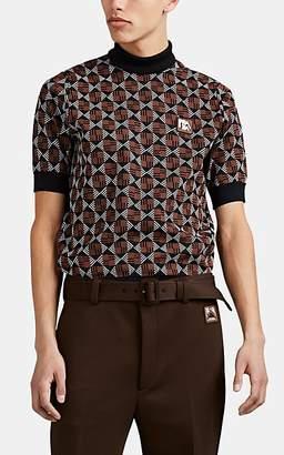 Prada Men's Geometric-Patterned Jacquard Short-Sleeve Sweater - Black