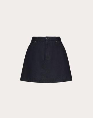 Valentino Vlogo Denim Mini Skirt Women Dark Blue 100% Cotone 42