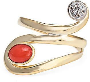 One Kings Lane Vintage 18K Coral Diamond Ring - Precious & Rare Pieces