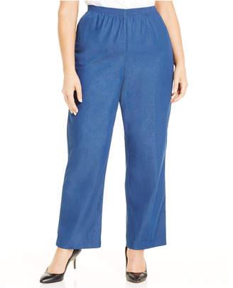 Alfred Dunner Plus Size Denim Pull-On Straight-Leg Pants