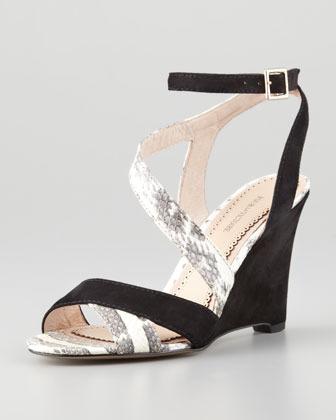 Pour La Victoire Briella Snake & Suede Wedge Sandal, Black/Marble