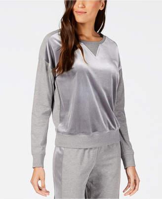 Alfani Velvet-Panel Pajama Top