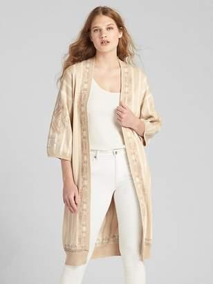 Gap Embroidered Stripe Kimono Duster Sweater