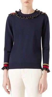Gucci Merino Stretch Crewneck Sweater $1,650 thestylecure.com