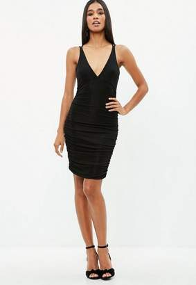 Missguided Black Metallic Slinky Cross Back Ruched Dress