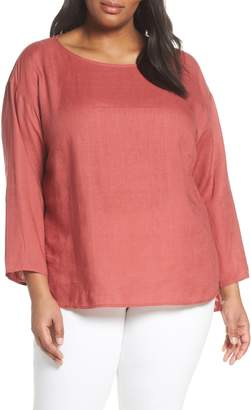 Eileen Fisher Jewel Neck Organic Linen Box Top