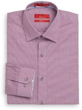 Saks Fifth Avenue RED Trim-Fit Micro-Houndstooth Cotton Dress Shirt