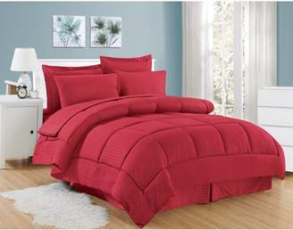 +Hotel by K-bros&Co Plaza Home 8 Piece Bed In A Bag Hotel Dobby Embossed Comforter Sheet Bed Skirt Sham Set
