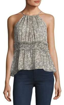 Joie Shawnette Printed Halter Silk Top