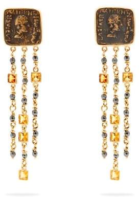Francesca Villa - 18kt Gold And Antique Coin Earrings - Womens - Yellow