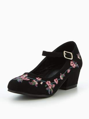 Very Chi Embroidered Heel Older Girls Shoes