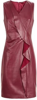 Elie Tahari Leather Marsala Dress