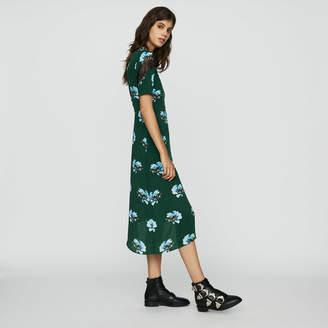 Maje Asymmetric printed dress with lace
