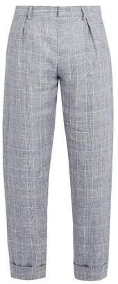 MAISON KITSUNÉ Checked Linen Cropped Trousers - Mens - Blue