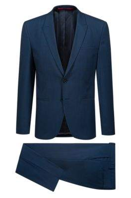 HUGO Boss Extra-slim-fit three-piece suit in patterned virgin wool 34R Blue