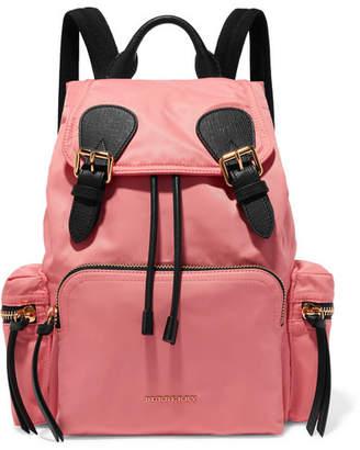Burberry Leather-trimmed Gabardine Backpack - Pink