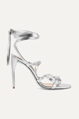 Miu Miu Lace-up Metallic Leather Sandals - Silver