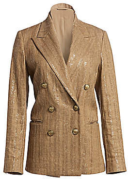 Brunello Cucinelli Women's Cotton & Linen Paillette Chevron Jacket