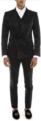 Dolce & Gabbana Black Jacquard Suit