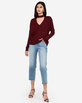 Express One Eleven Brushed Ribbed Choker Neck Top
