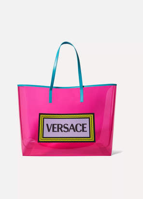 a91fcf01b358 Versace Appliquéd Leather-trimmed Vinyl Tote - Pink