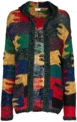 Saint Laurent lurex knitted wool mohair-blend hooded cardigan