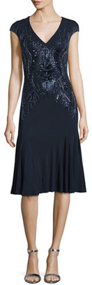 David Meister Cap-Sleeve V-Neck Beaded Drop-Waist Cocktail Dress $595 thestylecure.com