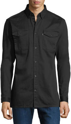 Wesc Olaf Cotton Workwear Shirt, Black