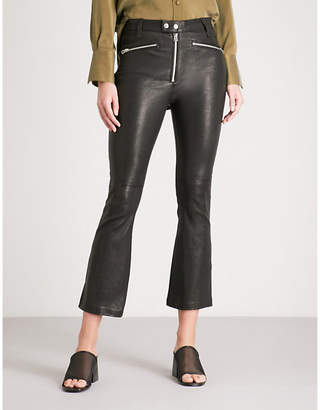 Rag & Bone Braxton slim-fit flared cropped leather trousers