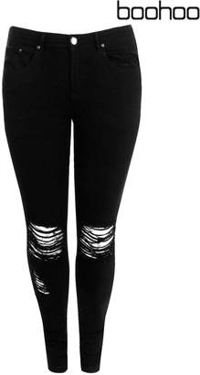 Next Womens Boohoo Plus Ripped Knee Stretch Skinny Jeans