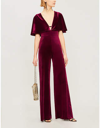 Forever Unique Backless stretch-velvet jumpsuit