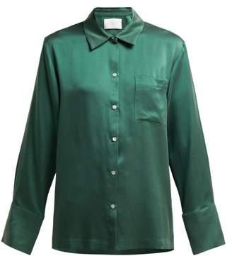 Asceno - Sandwashed Silk Pyjama Top - Womens - Dark Green
