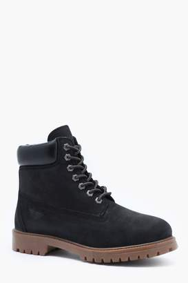 boohoo Waxy Suede Real Leather Lace Up Boot