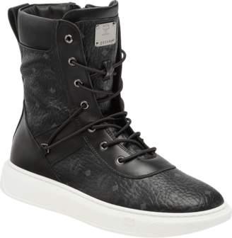 MCM Men's Lace Up Boots In Visetos