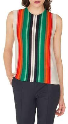 Akris Sleeveless Crewneck Striped Cashmere-Silk Pullover Shell