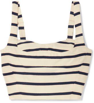 Veronica Beard Gina Metallic Striped Cotton-canvas Bustier - White