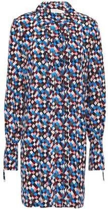 Tory Burch Pleated Printed Silk Mini Shirt Dress