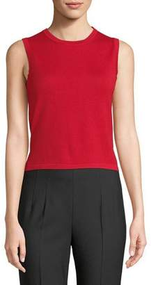 Carolina Herrera Crewneck Sleeveless Slim Wool-Silk Tank Top