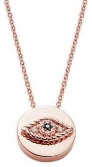 Effy 14K Rose Gold White & Black Diamond Evil Eye Pendant Necklace