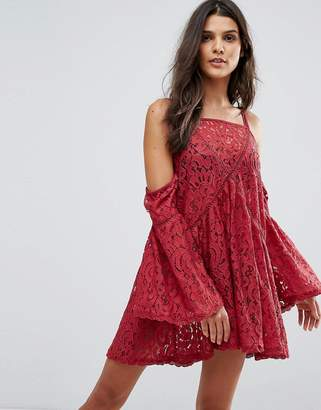 MinkPink Young Hearts Lace Beach Cover-Up Dress