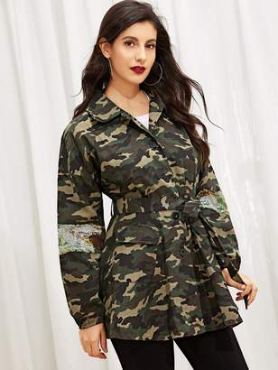 Shein Camo Contrast Sequin Belted Drop Shoulder Outerwear