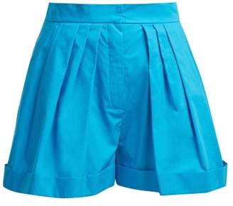 Vika Gazinskaya High Rise Wide Leg Cotton Shorts - Womens - Blue