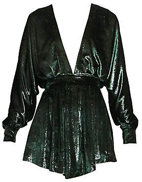 Balmain Women's Long-Sleeved V-Neck Velvet Dress